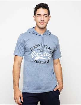 Kaos Hoodie Lengan Pendek Manhatta varsity - Misty Medium Blue