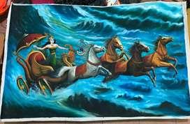 Lukisan nyiratu pantai selatan kanvas cat minyak