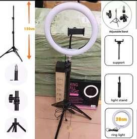 Lampu selfi 26 cm plus tripod 1 meter lebih