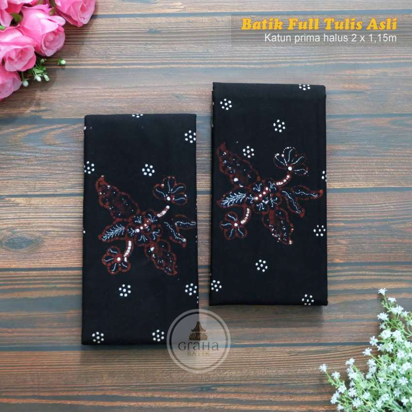 Kain Batik Tulis Asli Katun Halus Bahan Batik Bakaran Mawar Klasik