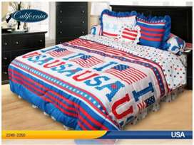 Bed Cover selimut sprei set motif USA, kode SI
