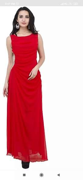 Party wear Red gown.