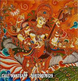 Goddess Saraswati mural painting (4.5 square feets)