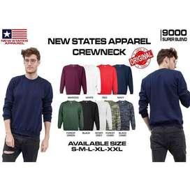 Crewneck Sweater Jaket New States Apparel 9000 NSA Warna Polos