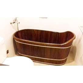 bathtub kayu jati brown coklat