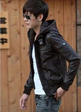 Jaket Kulit Hooded Brown Style