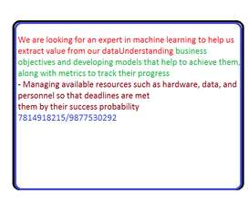 We are looking for an expert in machine learning to help us extract va