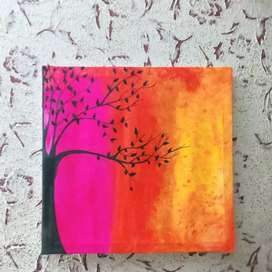 Black tree on colour background painting on canvas