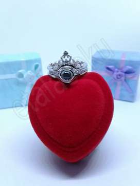 Cincin wanita silver white jeweled crown