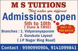 Offline tuition classes in arround JP Nagar Ring road &Vidyaranyapuram