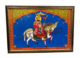 Baba Ramdev ji Maharaj Handmade Cloth Work Photo Frame