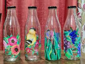 Hand painted glass  water bottles 1 litrr