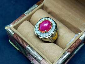 Merah ruby Mozambik ring perak