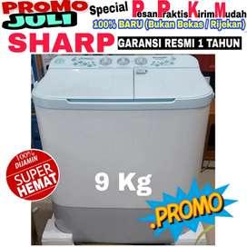 Mesin cuci Sharp 2 tabung 9kg murah baru