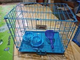 Kandang Kucing Bonus Tempat makan dan sekop