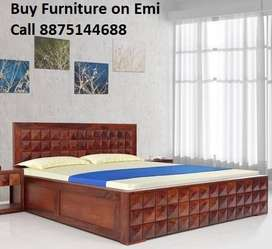 Offer Buy New Double bed With Box 7199/- only Emi Available