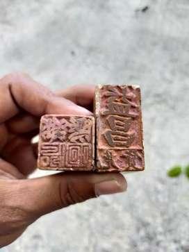 Sepasang Stempel Batu China Antik Dari Pecinan Tegal