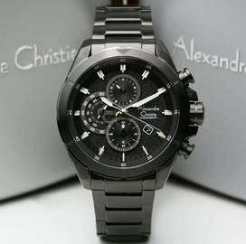 Alexandre Christie Ac6508 Full Black, Jam Tangan Pria Original