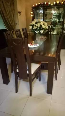 Wooden dinning set with 8 chairs