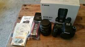 Canon 80d camera two lens two battery 64GB card