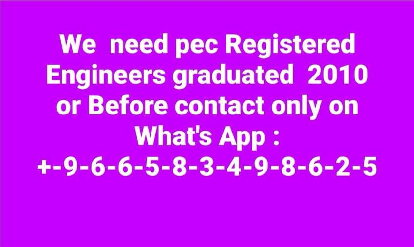 we need Pec Registered Engineers for our Firm 0