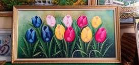 Lukisan bunga tulip cerah UK 137*73cm