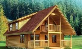 Pembuat rumah kayu unik dan modern