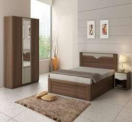 Queen Size Bed With 3 Door Wardrobe..