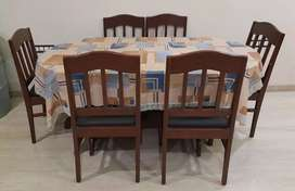 wooden furnished dining table