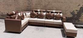 brand new desiner state line brown L shape sofa set with two seater
