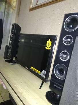 """Led polytron 24"""" + speaker tower full set fisik 95% segel model baru"""