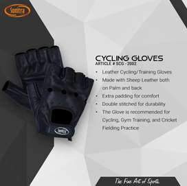 Leather Cycling & Training Gloves - Black