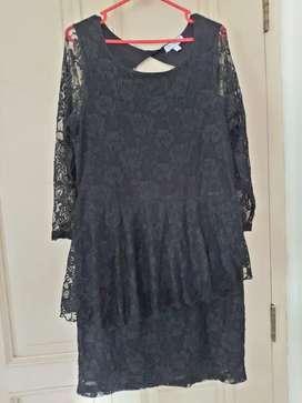 Cottoon On black dress brokat size L