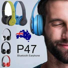 P47 Foldable Wireless Bluetooth Headphones - White. These headphones