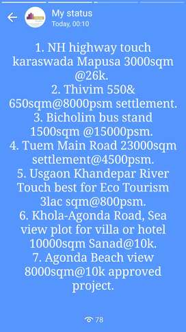280-500sqm @9k psm. SettlementPlot available for Sale@Succor Porvorim