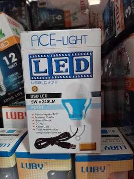 Lampu bohlam usb kabel usb panjang 5watt acelight putih (sinar kita)