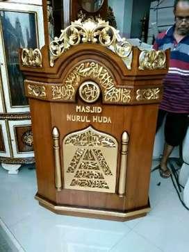 Mimbar jati mushola kotak salina gold podium