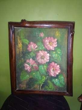 Lukisan bunga bingkai batang jati antik tahun 98.ukuran 50cm x 60cm