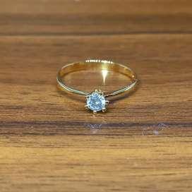 Cincin emas wanita mata satu simple berlian eropa