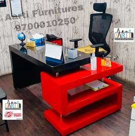 S shaped 5/2 feet with side table office tables chairs in any colour