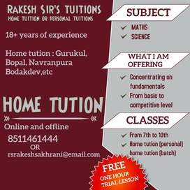 Home tution for standard 7 to 10.