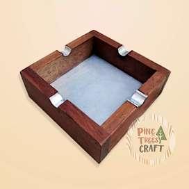 Asbak Jati Tua Alumunium Unik Kerajinan Woodcaft Bandung