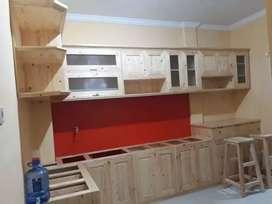 Kitchen set klasik dari kayu jati belanda