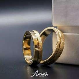 Cincin kawin costum bahan emas kuning full glossy