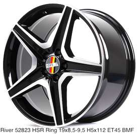 velg mercy type river ring 19 pcd 5x112 warna hitam polish