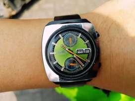 Ori 70s Citizen Monaco 8110 Green flyback Chrono black PVD speedtimer
