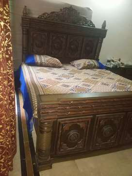 %double bed of shishum wood with two sidetables+beautifull matteress