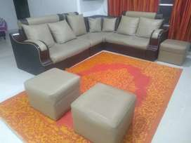 L Shaped Leatherette Adjustible Sofa set with 3 Stools