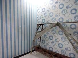 Wallpaper vynil dinding timbul berserat