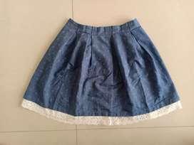 Rok katun motif jeans